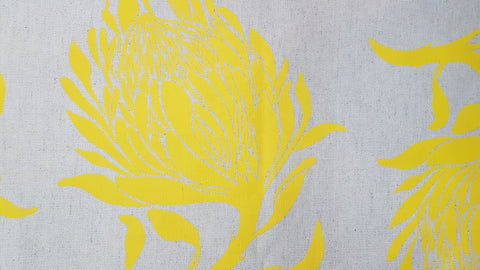 Stowe & so Table Cloth. 2m King Protea in Bright Yellow on Stone.