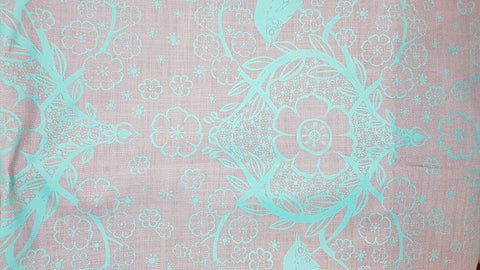 Stowe & so Table Cloth. 2m Peach Blossom in Teal on Grey.