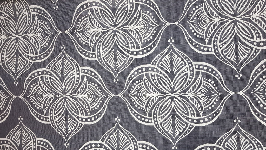 Stowe & so Table Cloth. 2m Water Lilly White on Grey.
