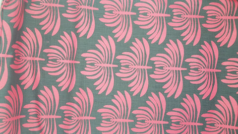 Stowe & so Table Cloth. 2m Euphorbia in Cerise on Dark Grey.