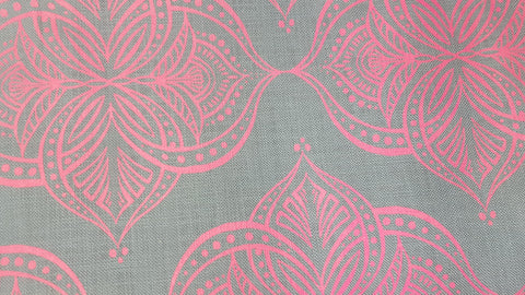 Stowe & so Table Cloth. 2m Waterlilly in Salmon on Grey.
