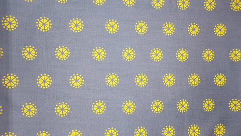 Stowe & so Table Cloth. 2m Pollen in Yellow on Grey.