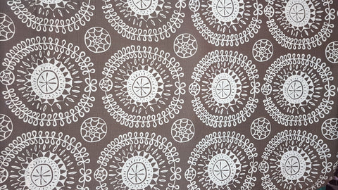 Stowe & so Table Cloth. 2m Protea Pattern in Cream on Light Choc.