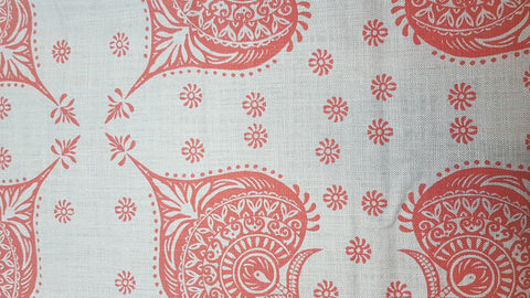 Stowe & so Table Cloth. 2.5m Henna in Deep Red on Grey.