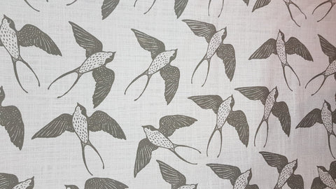Stowe & so Table Cloth. 2.5m Swallow in Charcoal in Grey.