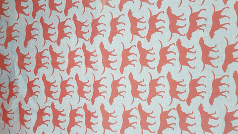 Stowe & so Table Cloth. 2.5m Walkies in Deep Red on Grey.
