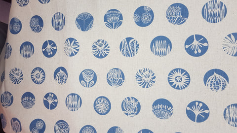 Stowe & so Table Cloth. 2.5m Plant Circles in Blue on Stone.