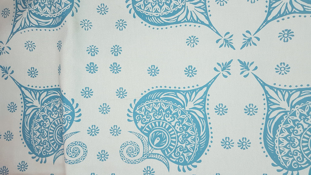 Stowe & so Table Cloth. 2.5m Henna in Blue.