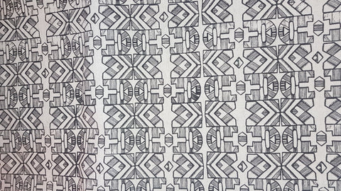Stowe & so Table Cloth. 2.5m Ndebele in Charcoal on Stone.
