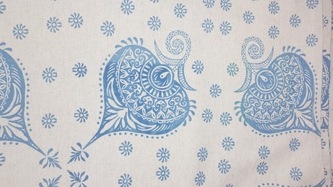 Stowe & so Table Cloth. 3m Henna in Blue on Stone.