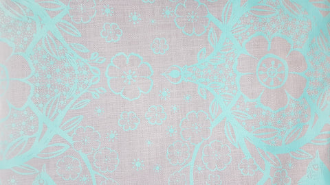 Stowe & so Table Cloth. 3m Peach Blossom in Teal on Grey.