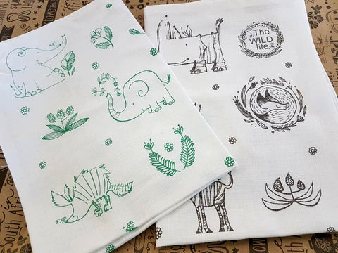 Stowe & So Tea Towel Set: The Wild Life. 1 Green 1 Grey.