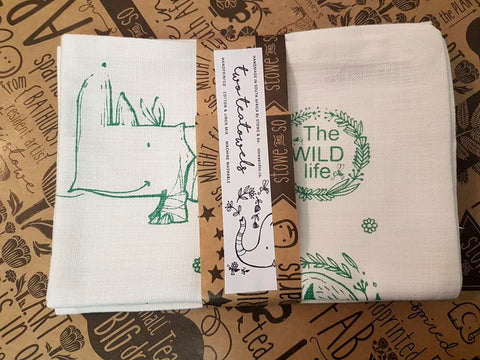 Stowe & So Tea Towel Set: The Wild Life. 1 Green 1 Salmon.