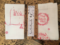 Stowe & So Tea Towel Set: The Wild Life. 1 Salmon 1 Grey.