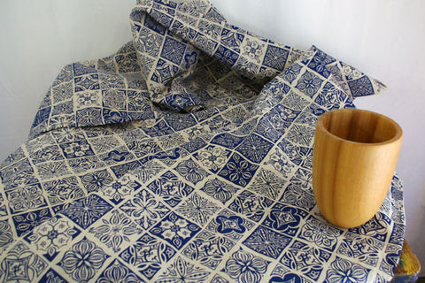 Stowe & so Table Cloth. Morocco Cobalt on Stone.