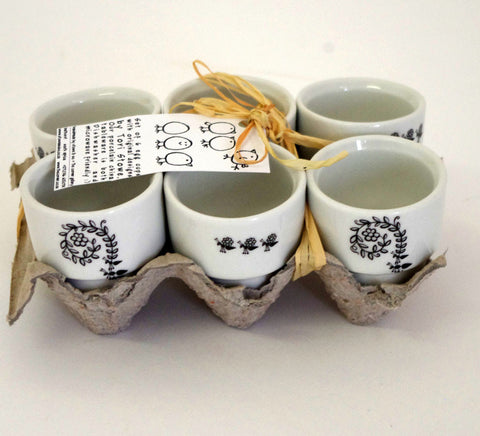 Stowe & so Egg Cups (Set of 6): Ant & Bird Design