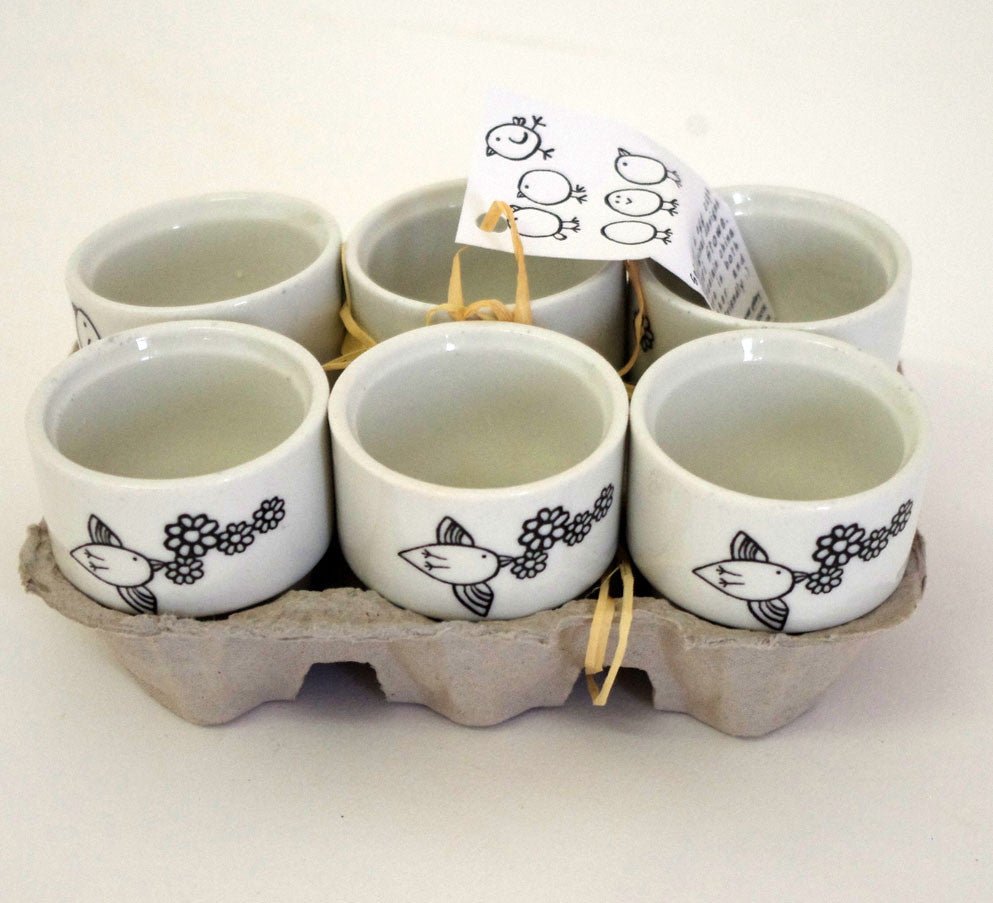 Stowe & so Egg Cups: Bird & Flower Design, Set of 6