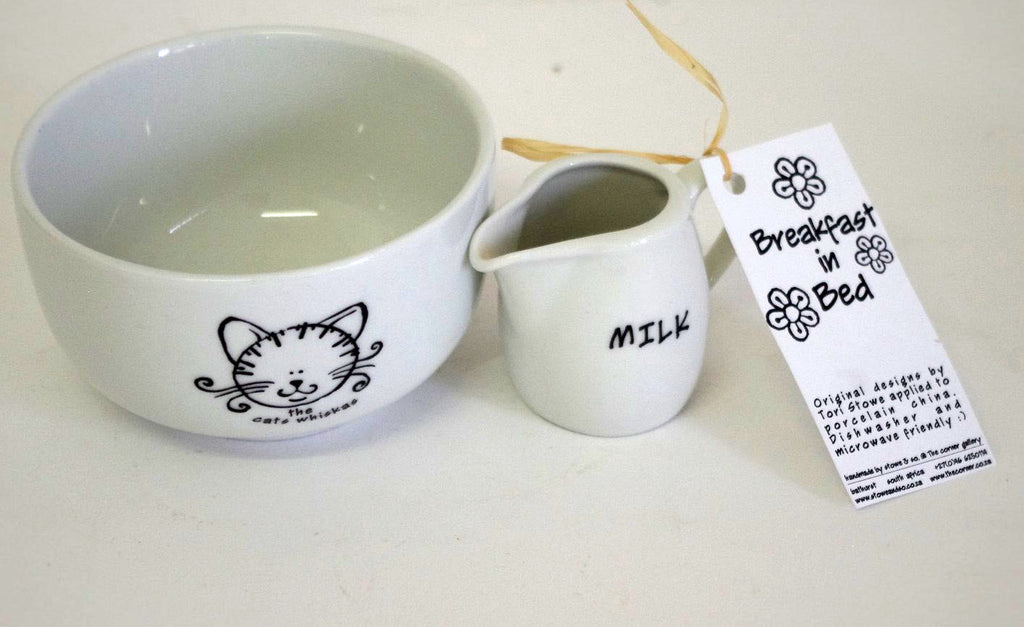 Stowe & so Breakfast In Bed Set: Cat Design (Bowl & Milk jug)