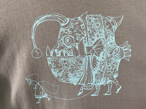 FISHY LEADS T-Shirt GREY SHIRT BLUE PRINT