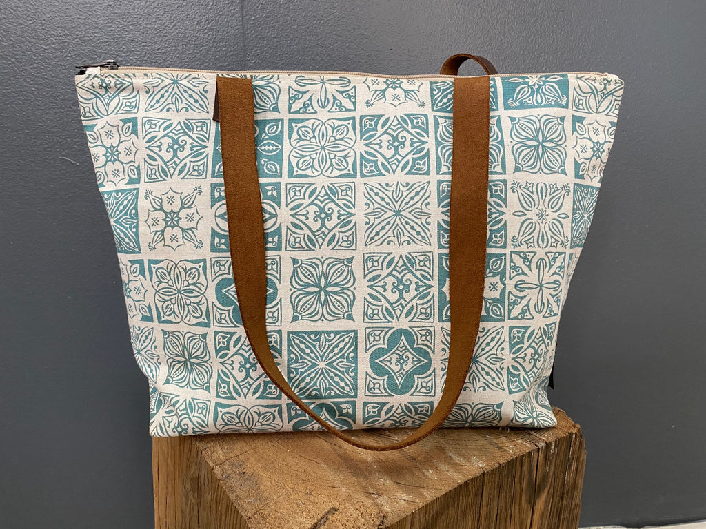 Stowe & so Me Bag. Morocco in Teal on Stone.