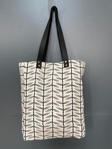 Stowe & so File/Teacher Bag. Acacia Thorn in Charcoal on Off White.