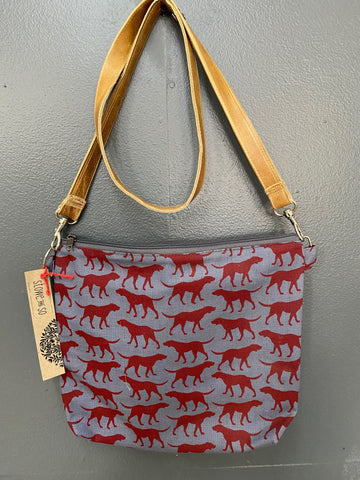Stowe & so Sling Bag - Walkies in Red Wine on Grey