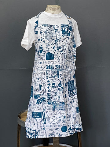 Apron. Philosophy 101 in Wedgewood on White.