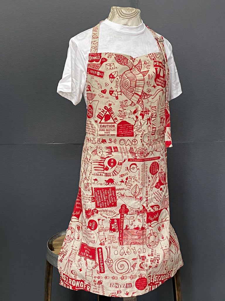 Apron. Philosophy 101 in Red on Stone.