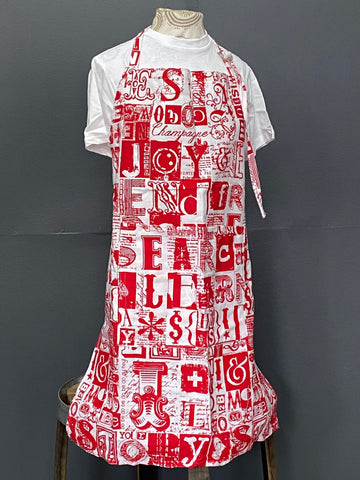 Apron. Letterset in Red on White.