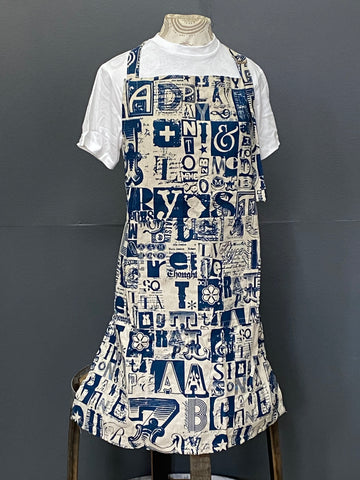 Apron. Letterset in Wedgewood on Stone.