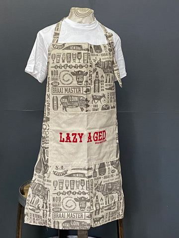 Braaimaster Apron. Lazy Aged in Grey.