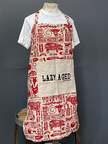 Braaimaster Apron. Lazy Aged in Red.