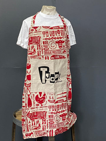 Braaimaster Apron. Tjop in Red.