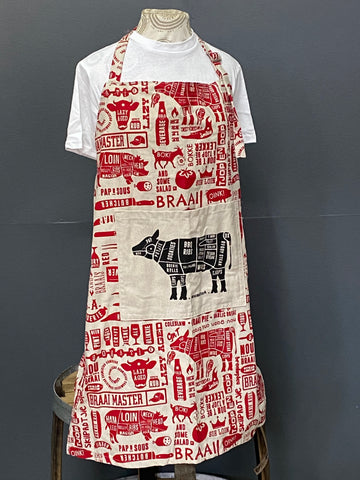 Braaimaster Apron. Cow in Red.