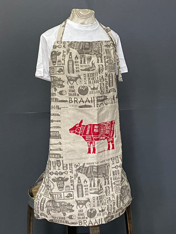 Braaimaster Apron. Cow in Grey.
