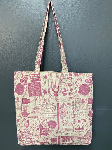 Shopper Bag. Philosophy 101 in Salmon on Stone.