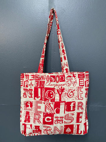 Shopper Bag. Letterset in Red on Stone.