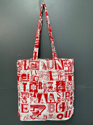Shopper Bag. Letterset in Red on White.