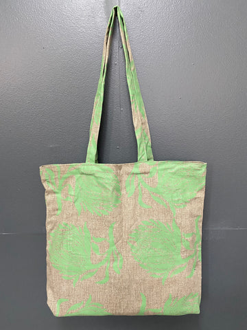 Shopper Bag. Protea Green on Sand.