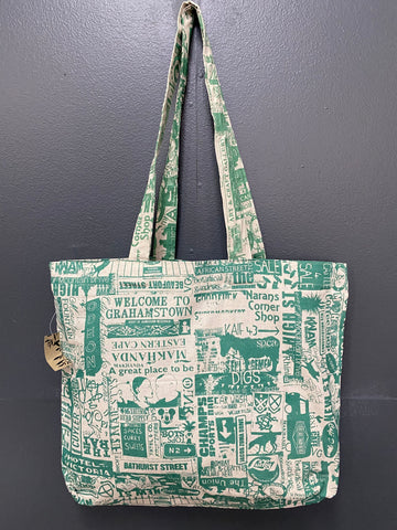 Shopper Bag. Grahamstown Design in Teal.