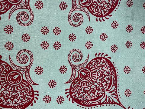 2m Stowe & so Table Cloth. Henna in Red.