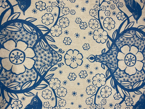 2m Stowe & so Table Cloth. Peach Blossom in Blue.