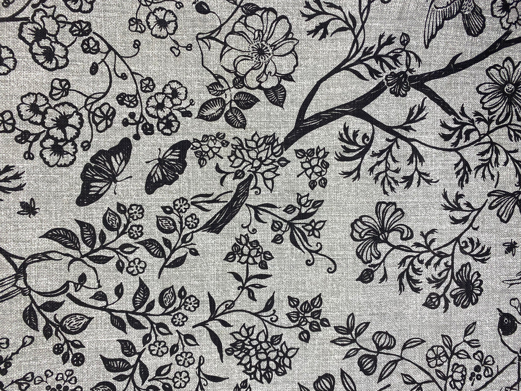 2m Stowe & so Table Cloth. Tea in the Garden in Charcoal on grey.