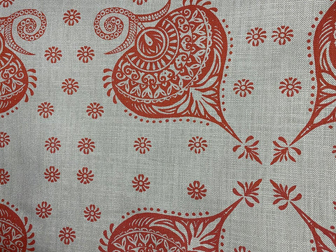 2.5m Stowe & so Table Cloth. Henna in Red Wine on Grey.