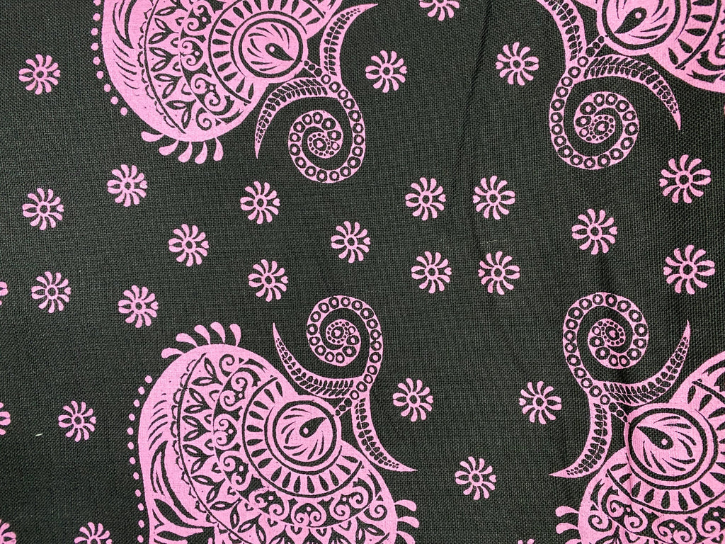 3.5m Stowe & so Table Cloth. Henna in Pink on Charcoal.