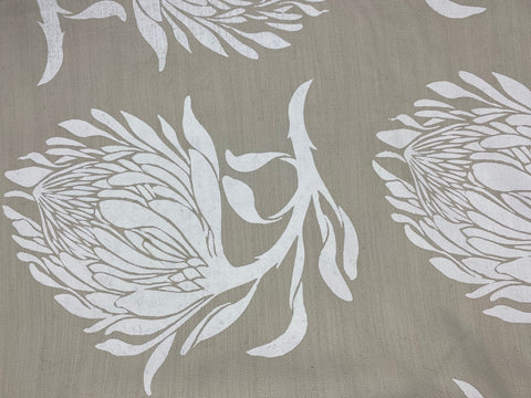 3.5m Stowe & so Table Cloth. Protea in White on Stone.