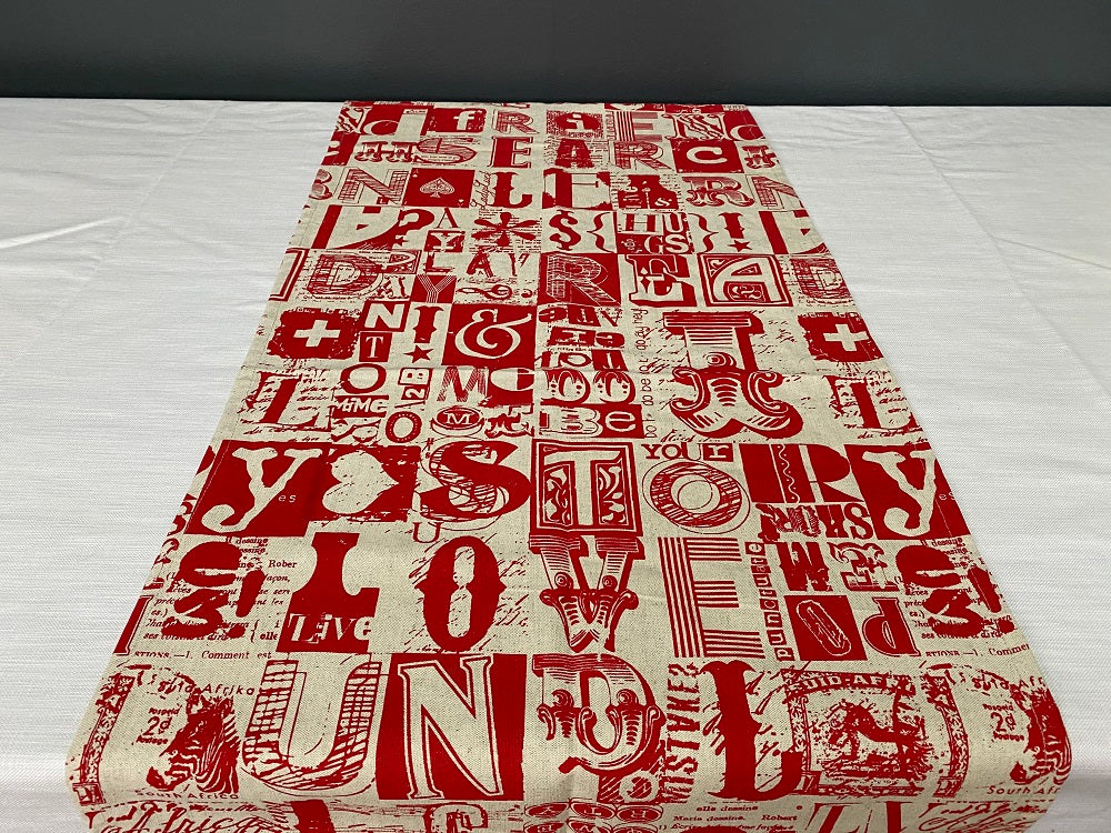 1.5m x 0.4m Stowe & so Runner. Letterset in Red on Stone.
