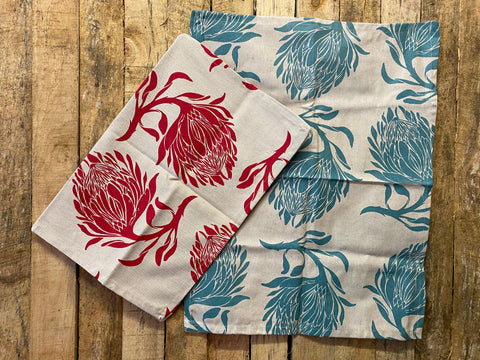 Stowe & So Tea Towel Set: King Protea in Red and Duck Egg.