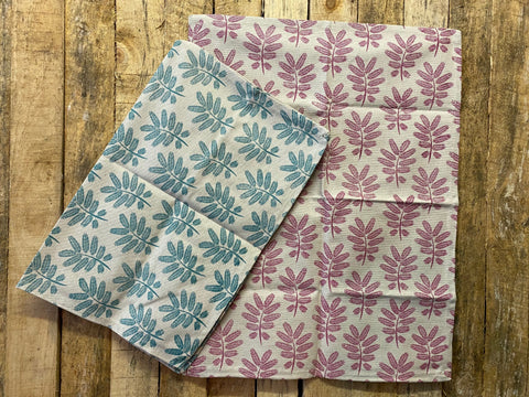 Stowe & So Tea Towel Set: Acacia Leaf in Salmon and Duck Egg