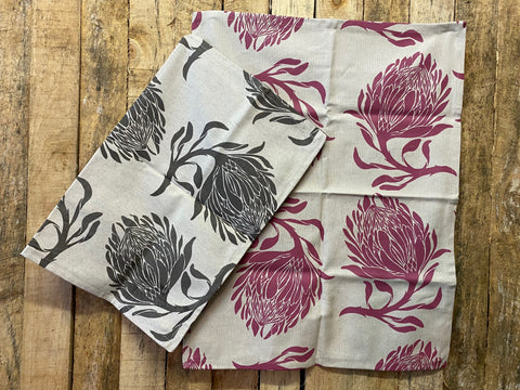 Stowe & So Tea Towel Set: King Protea in Dark Salmon and Grey.